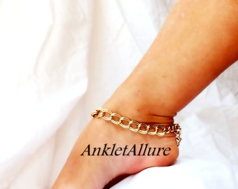Simply Chain Gold Anklet Double Link Chain Ankle Bracelet