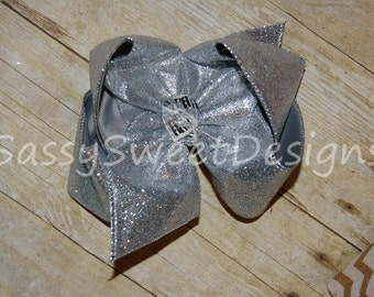 SSD Solid Silver Glitter Sparkle Boutique Hairbow Grey Sassy Sweet Designs Custom