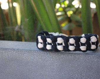 Black and White Macramé Minimalist Stackable Bracelet