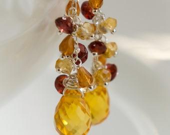 CITRINE ///Citrus Citrine, Hessonite and Deep Red Garnet Cluster Earrings///