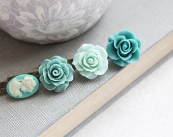 Teal Rose Bobby Pins Mint Flowers For Hair Floral Hair Accessories Aqua Blue Hair Pin Girls Hair Clips Vintage Style Cameo Set of Four (4)