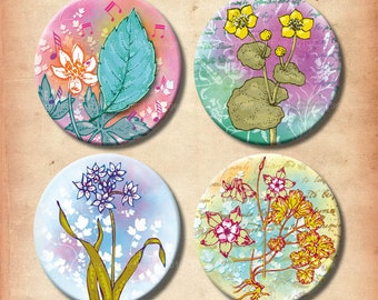 Meadow Flowers 12 and 16 mm digital collage sheet. Instant digital download.Printable small circles for jewelry. Colorful floral ornaments.