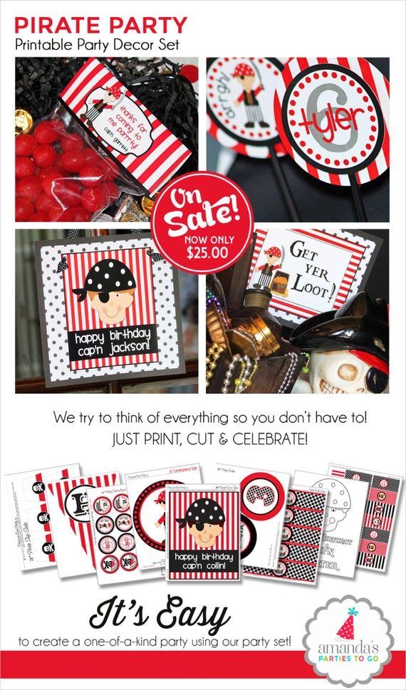 Pirate Birthday Party | Pirate Party Decorations | Pirate Party Printable | Pirate Party Favor | Pirate Party Banner | Amandas Parties To Go