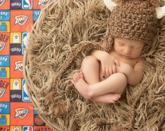 Newborn Baby Photo Prop Thunder Basketball Rumble Bison Hat
