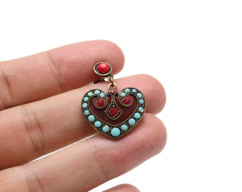 Vintage Heart Earrings with Turquoise and Red Swarovski Crystals
