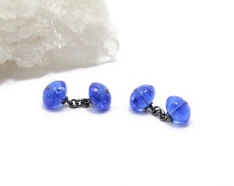 Cufflinks of Vintage Blue Crystal, Handmade, Custom made, Cufflinks