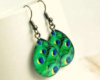 peacock drop earrings, blue green, boho, dangle, resin, photo