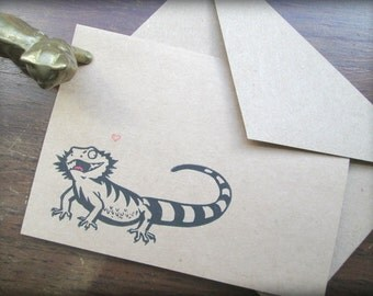 Bearded Dragon Greeting Card - Blank Inside - With Envelope