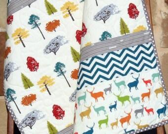 SALE LAST ONE Baby Quilt Modern Blanket Nursery Bedding Birch Organic Fabrics Crib Quilt Decor, Trees Elk Deer Woodland Low Volume Chevron