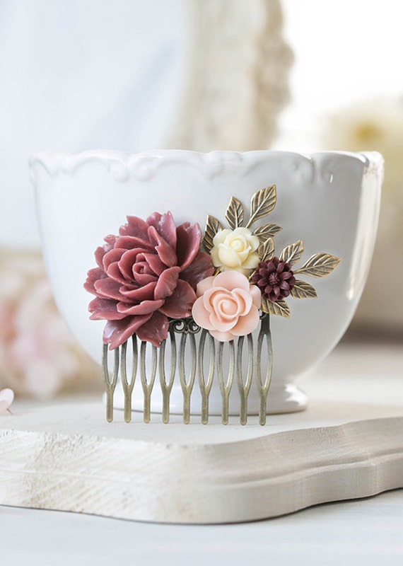 Blush Pink Ivory Wedding Hair Comb