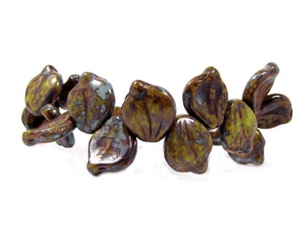 Czech Glass Beads,14 x 12  mm, Mottled Brown Picasso Leaves, Qty:10
