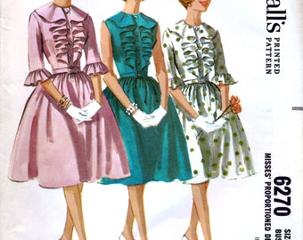 McCall's 6270 Vintage 60s Misses' Proportioned Jabot Dress Sewing Pattern - Uncut - Size 14 - Bust 34