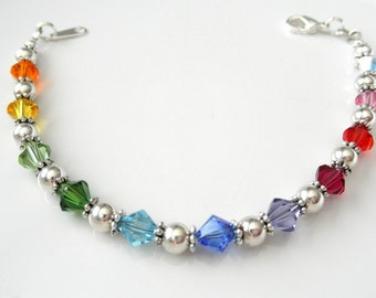 Rainbow Bracelet - Swarovski Crystal Bracelet - Rainbow Jewelry - Multicolor Bracelet, Sterling Silver - LGBT Awareness Bracelet - Gay Pride