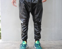 Mens Black Leather Drop Crotch Harem Pants / Mens Leather Pants / Leather Joggers Handmade by GAG THREADS