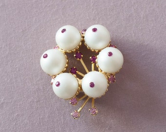 Vintage Large Brooch or Pin with Faux Pearl with Pink Rhinestones Wedding Bridal Jewelry