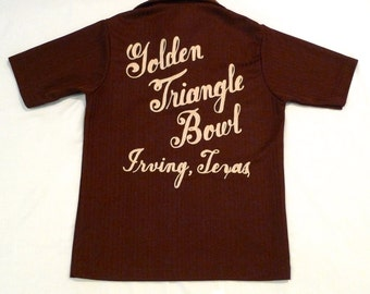 Bowling Shirt Vintage Brown Nat Nast Pullover Polo Knit Top Small Medium Embroidered Golden Triangle Bowl Irving Texas Classic Bowling Patch