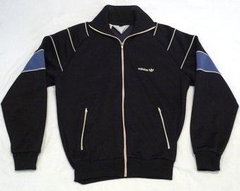 Adidas Jacket Vintage Trefoil Navy Colorblock Track Jacket 1980s Size Medium Large Warm Up Jacket Blue Knit Hip Hop Old School
