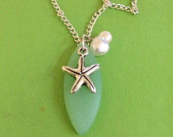 Sea Glass Silver Starfish and Pearl Necklace