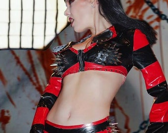 Cropped Hooded Shrug with Spiked Bust - Satanic Metal Latex