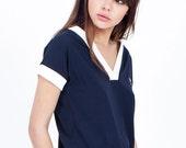SALE  Blue shirt - teen girl clothes - soft shirt - short sleeve shirt - womens shirts - summer shirts - womens tops - summer tops