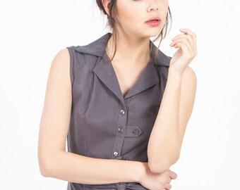 Gray dress for summer, button down sleeveless gray dress, gray shirt dress, gray midi dress, knee length dress, summer tailored office dress