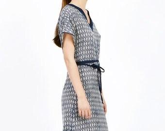 Blue printed summer dress, V neck summer dress, bell sleeve dress, knee length dress, casual summer dress, light summer dress