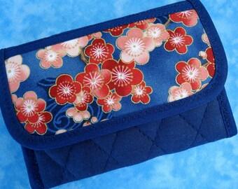 Women Wallet - Credit Card Holder Small Wallet Cherry Blossom Credit Card Wallet Business Card Wallet Fabric Wallet Cloth Wallet Velcro