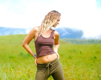 SAMPLE Sale Eco Friendly Cropped Tank Top - Crop Top - Size Small - Brown Organic Cotton Soy Spandex Jersey - Organic Clothing