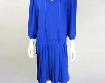 Original 1970s Vintage Berketex Cobalt Blue 20s Style Dress Size 12