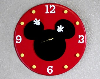 Mickey Mouse Wall Clock, Mickey Mouse, Mickey Mouse Clock, Disney Clock, Disney, Custom Disney Clock, Made to Order Clock, Mickey Clock