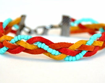 Flat Braided Bracelet with Mint Seed Beads
