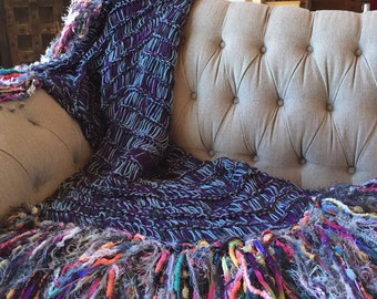 College Student Gift Dorm Decor Throw Blanket Afghan College Gift Purple, Grey, Blue Blanket with Neon Bright Colors in Fringe