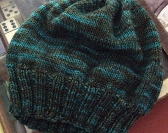 Hand Knitted Wool Slouchy Hat Hand Dyed in Dappled Forest Colorway