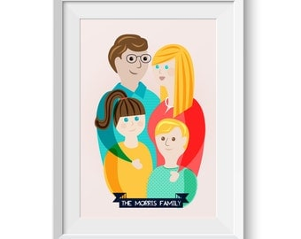 Digital Custom Family Portrait Printable Artwork - PDF File Fathers Day Gift
