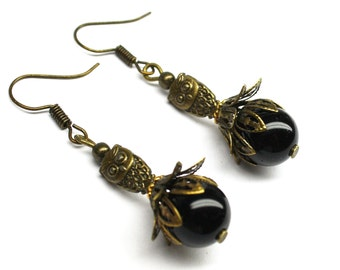 Black Owl Earrings Halloween Jewelry