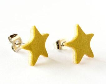Wood earrings star, Small wood earrings, Lightweigh earrings, Wood post earrings, Wooden stud earrings, Wooden start earrings, Minimal, Star