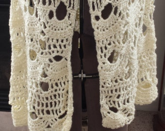Crochet poncho, Ivory, M/L