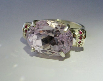 Large Lavender Pink Kunzite, Ruby Accents In Sterling Silver Cocktail Ring, 11.1ct. Size 7