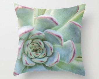 Succulent Pillow Cover, Garden Pillowcase, Botanical Plant, Mint Green, Grey, Macro Succulent