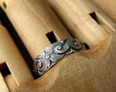 Flourish Ring, Vintage Style Band, Sterling Silver Ring - Made to Order