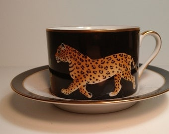 "Lynn Chase ""Jaguar Jungle"" teacup and saucer"