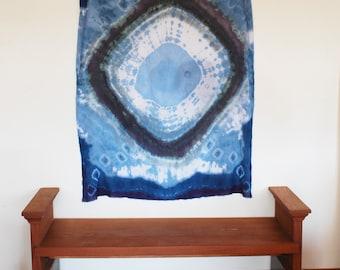 shibori hand dyed wall hanging, or oversized cotton shawl, indigo textile