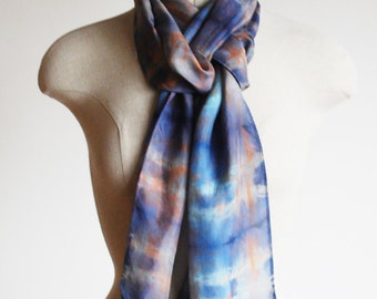 preppy plaid scarf, long skinny shibori silk scarf, hand dyed scarf, multi-colored scarf, indigo and copper,