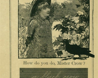 Mister Crow 11x17 Artist Print - Fall - Scrapbooking - Decoupage