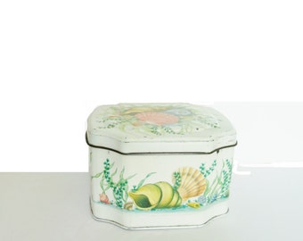 Vintage Tin Box With Sea Shells Hinged Lid Made In England