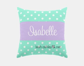 Square Name Pillow Cover - Mint Polka Dot, Lavender Solid - Ava
