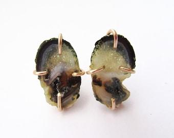 Tabasco Geode Stud Earrings - Crystal Mineral Jewelry - Druzy Earrings