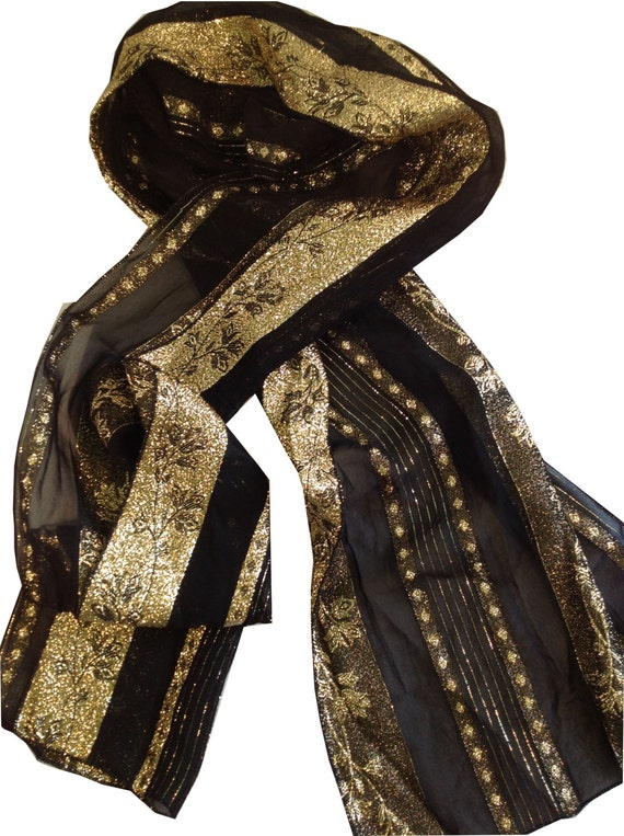 collectif black and metallic gold scarf