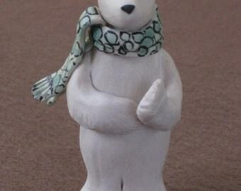 Porcelain Polar Bear with scarf