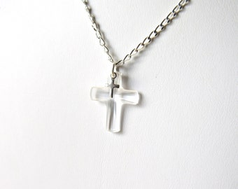Silver Cross Necklace, Tiny Cross Necklace, Sterling Silver, Crystal Cross Necklace, Christian Jewelry, Confirmation Gift, Easter Jewelry